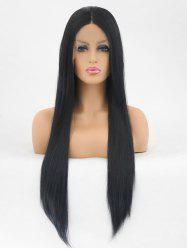 Center Parting Long Straight Synthetic Fiber Lace Front Wig -