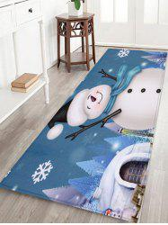 Christmas Snowman Snowflake Printed Fleece Floor Mat -