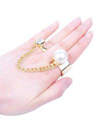 Faux Pearl Inlaid Two Finger Ring -
