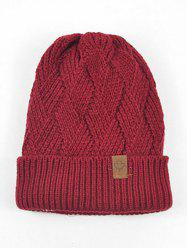 Outdoor Warm Flanging Cross Knitted Beanie -