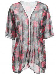Flower Pattern Half Sleeve Cover Up -