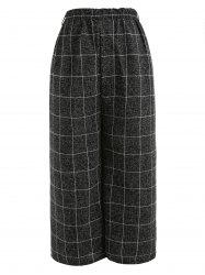 Checked Pattern Wide Leg Pants -