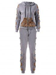 Leopard Print Bowknot Sweat Suits -