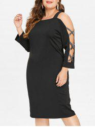 Plus Size Criss Cross Cold Shoulder Bodycon Dress -
