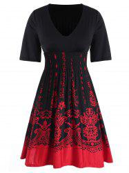 Plus Size Two Tone Baroque Print Shirred Dress -