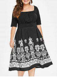 Plus Size Tribal Print Midi High Waist Dress -