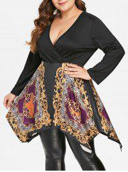 Plus Size Ethnic Print Tunic Handkerchief T-shirt -