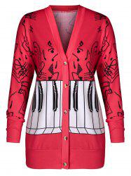 Plus Size Musical Notes Print Button Up Coat -