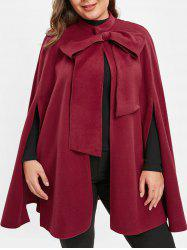 Plus Size Christmas Cape Coat with Bowknot -