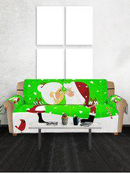 Christmas Santa Couple Pattern Couch Cover -