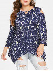 Plus Size Open Shoulder Geometric T-shirt -
