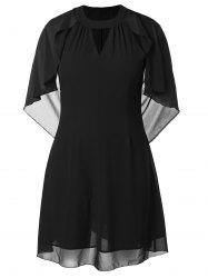 Plus Size Keyhole Neck Batwing Sleeve Dress -