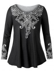 Long Sleeve Plus Size Ethnic Print T-shirt -