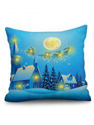 Christmas Night Print Sofa Linen Pillowcase with LED Light -