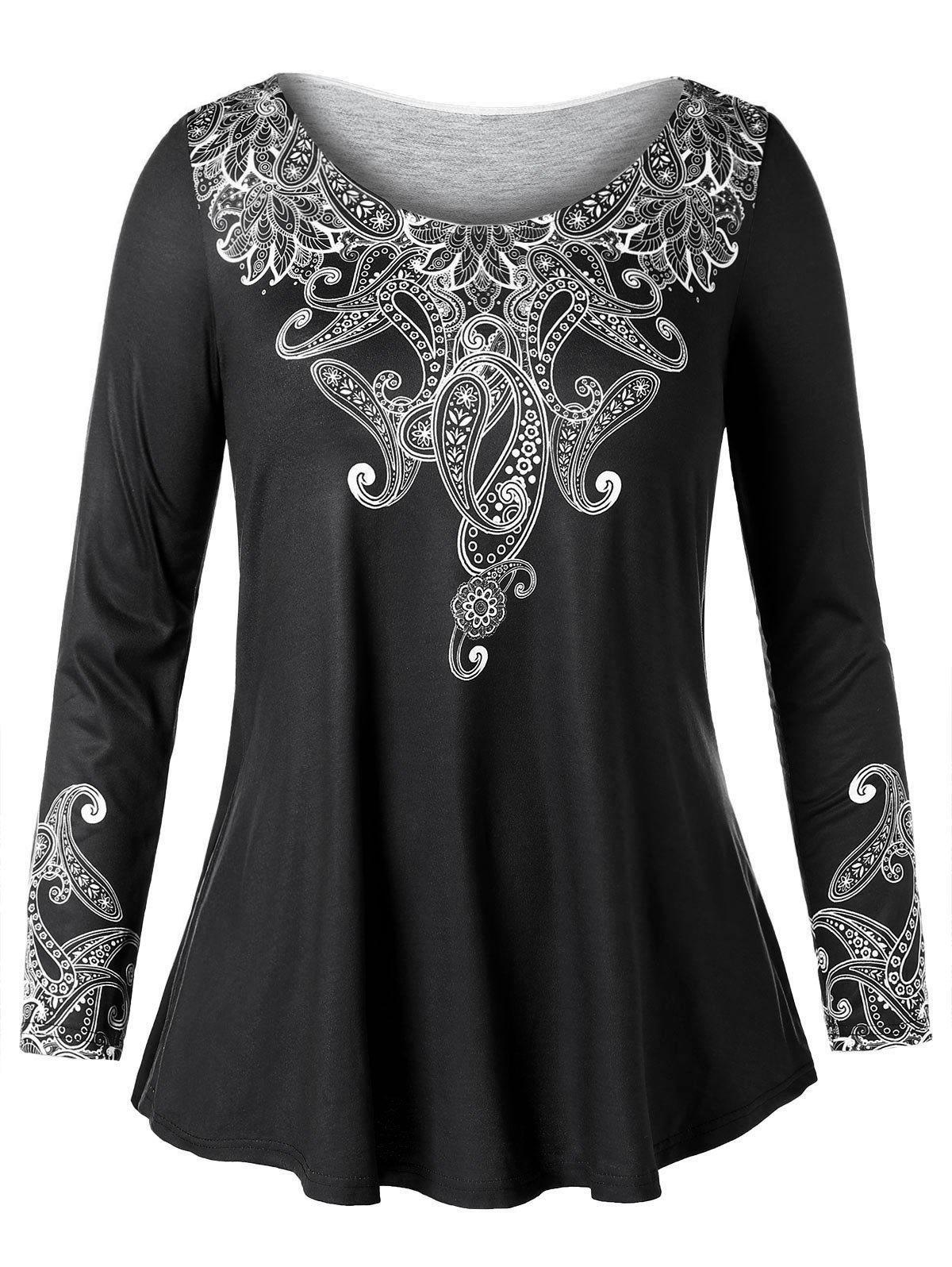 Cheap Long Sleeve Plus Size Ethnic Print T-shirt