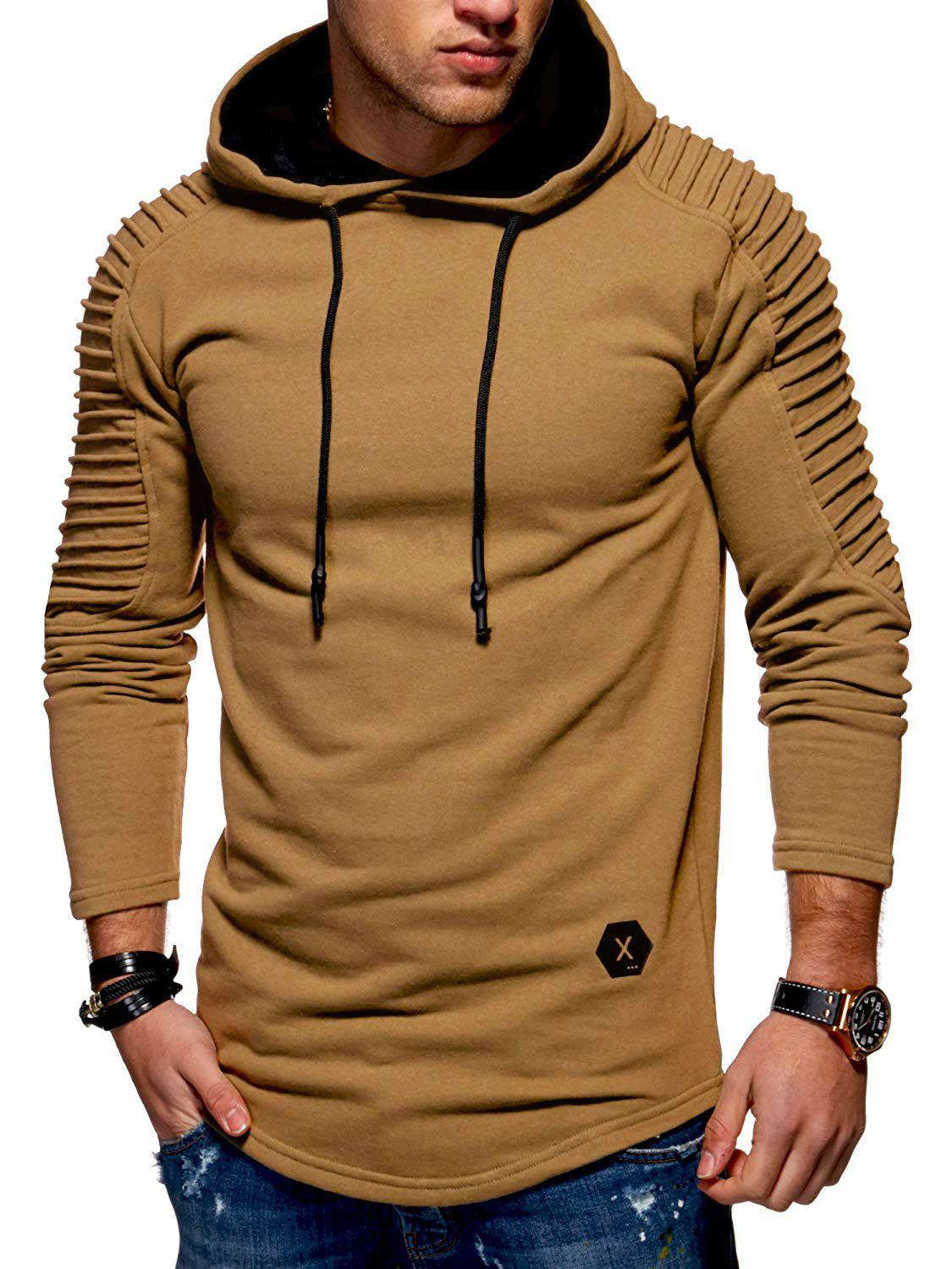 Latest Solid Pleated Sleeve Hem Curved Long Fleece Hoodie