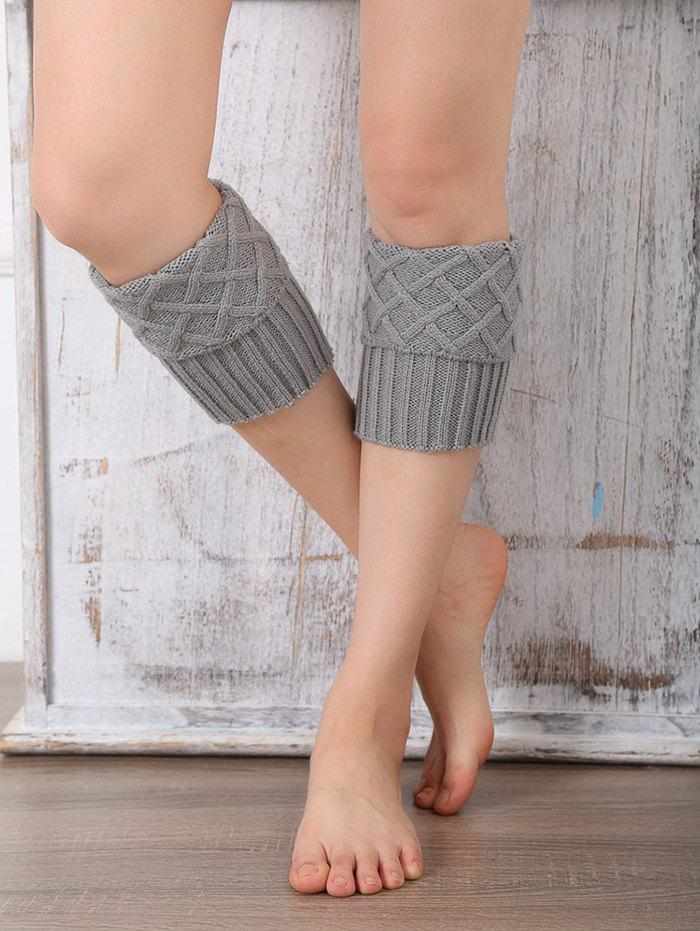 Discount Rhombus Flanging Knitted Leg Warmers