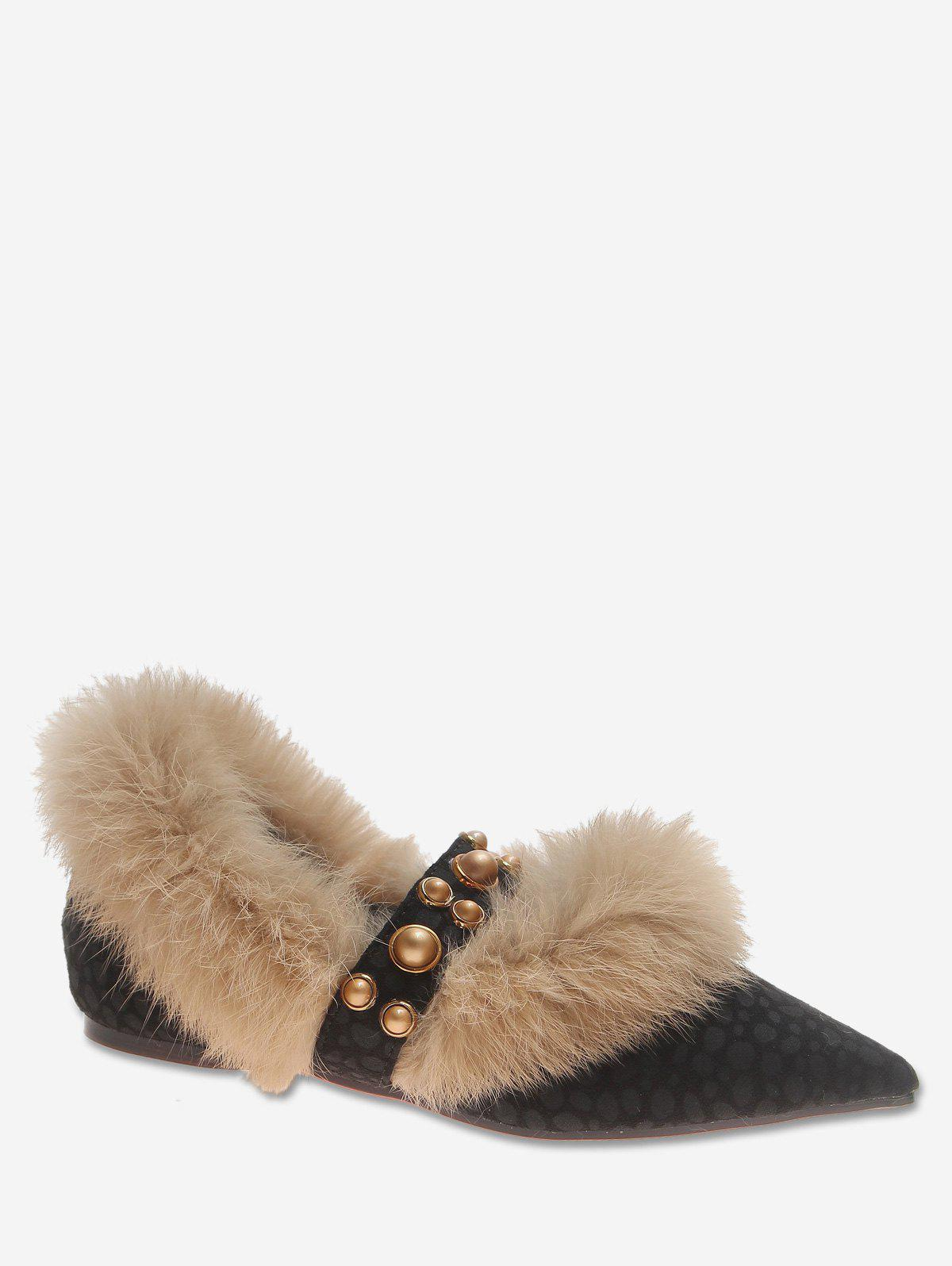 Online Pointed Toe Leopard Print Fuzzy Flats