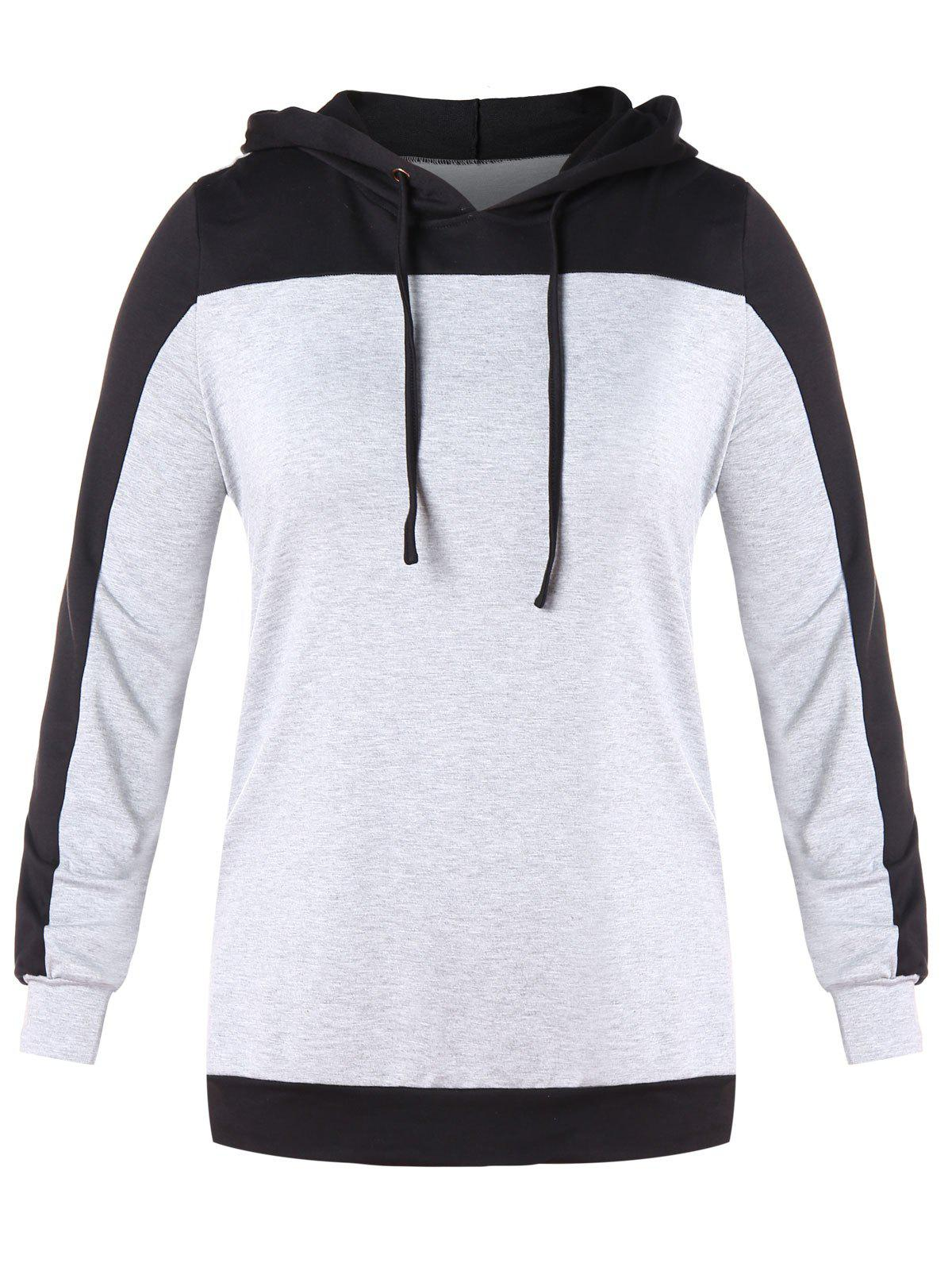 Chic Plus Size Color Block Drawstring Hoodie