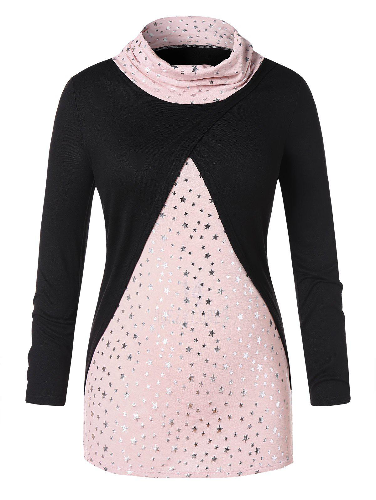 Affordable Plus Size Faux Twinset Long Sleeve Star Print T-shirt