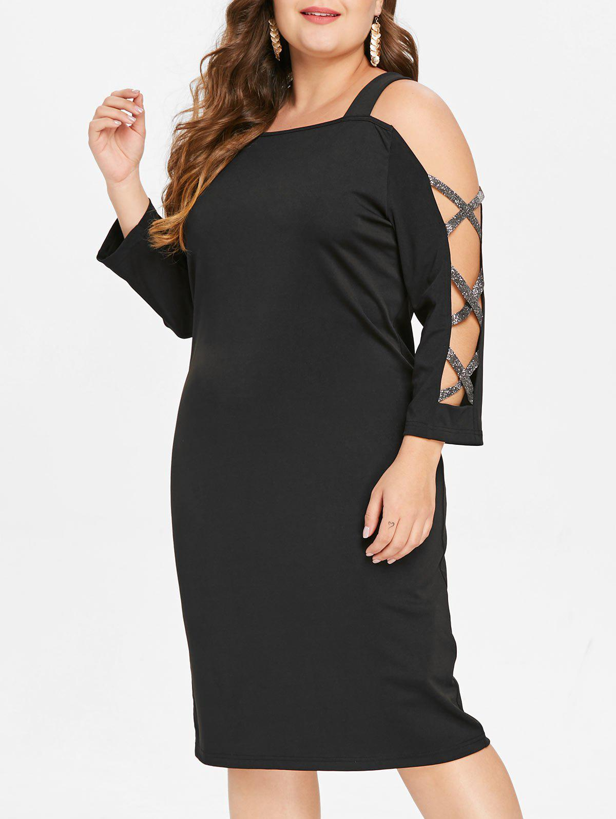 Store Plus Size Criss Cross Cold Shoulder Bodycon Dress