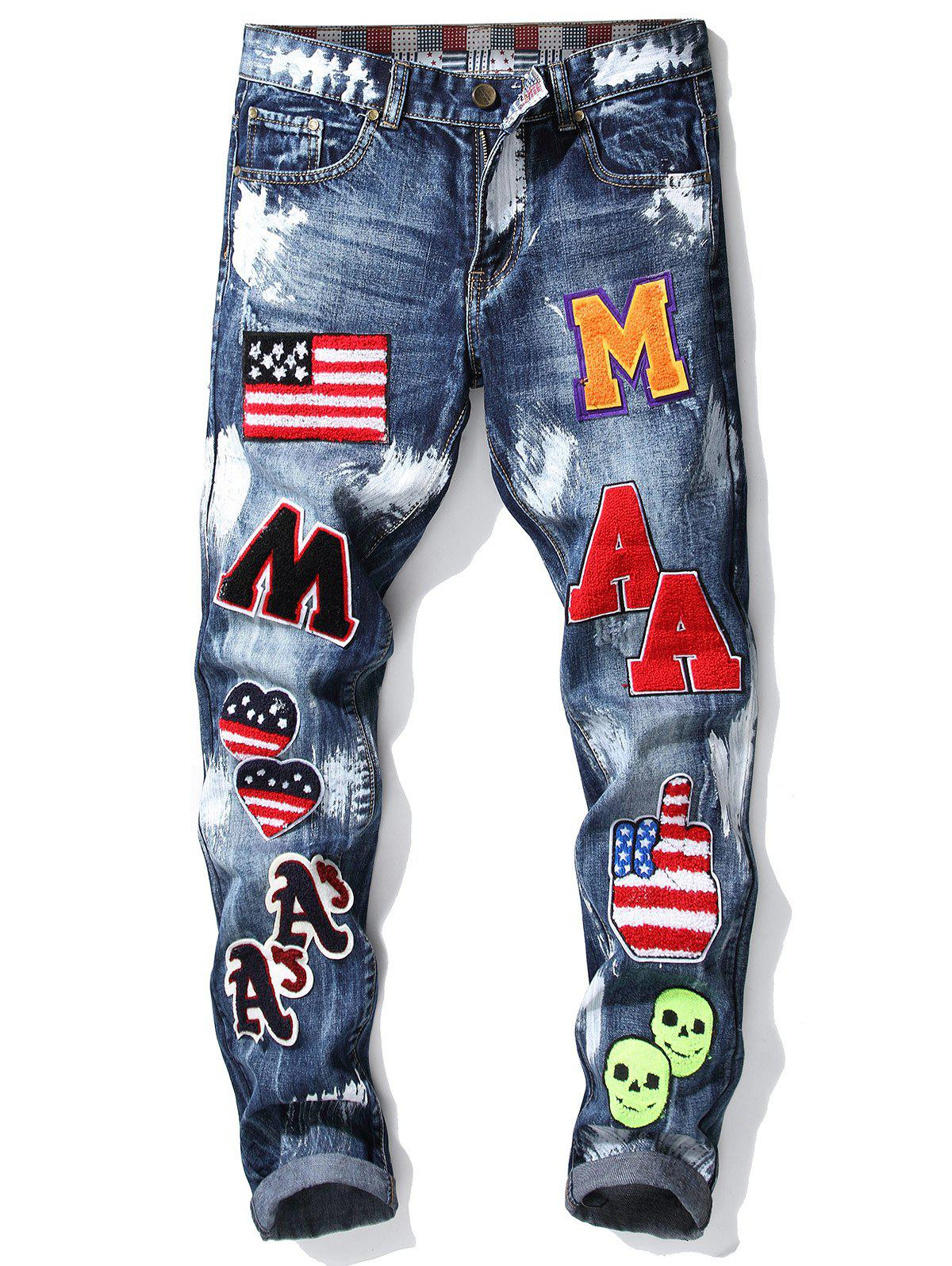 New Badge Embroidered Zip Fly Cuffed Jeans