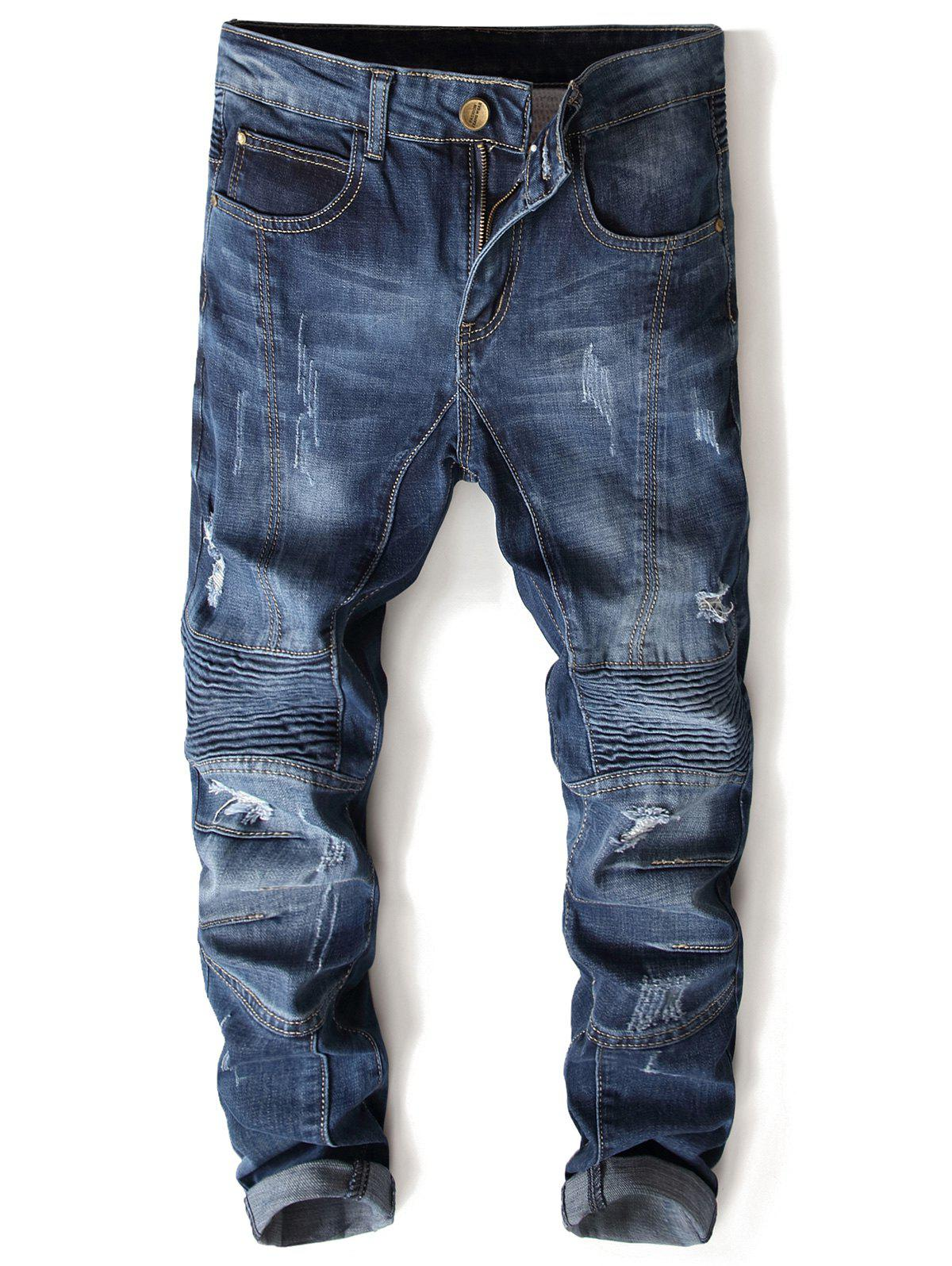 Fancy Ripped Zipper Slim Fit Cuffed Jeans