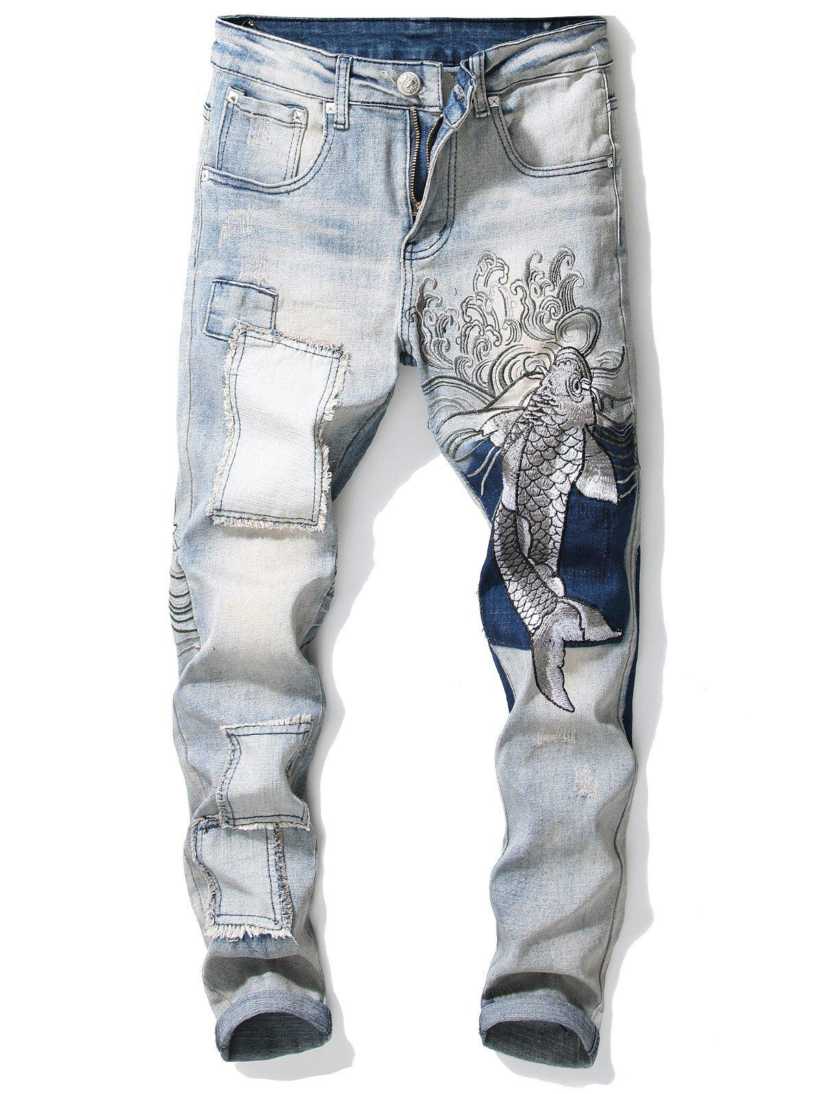 Best Carp Embroidery Stretchy Zipper Jeans