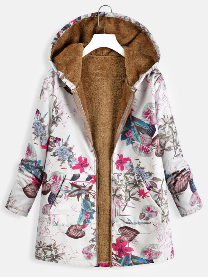 Cheap Kangaroo Pocket Plus Size Floral Print Coat