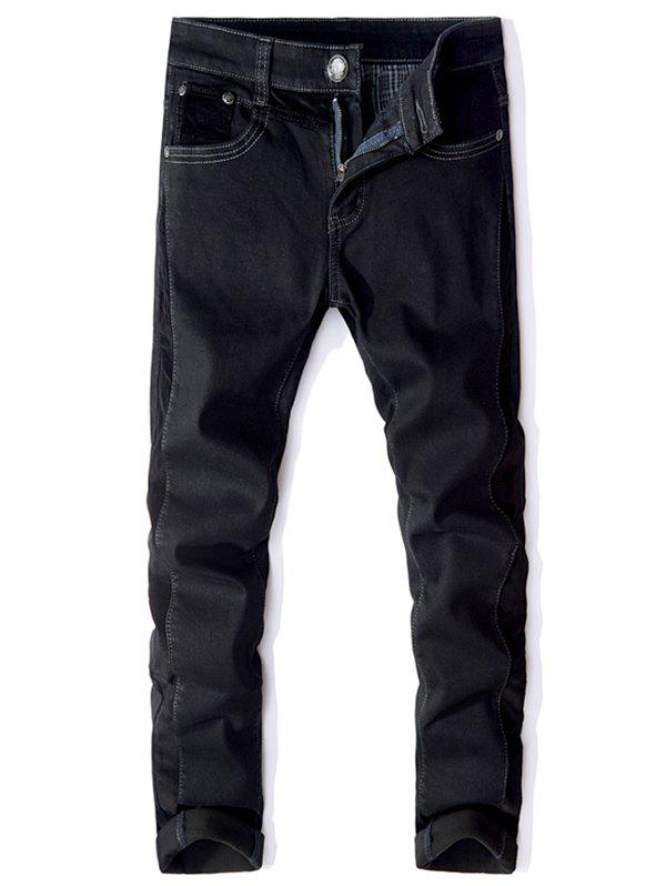 Store Slim Fit Elasticity Solid Color Cuffed Jeans