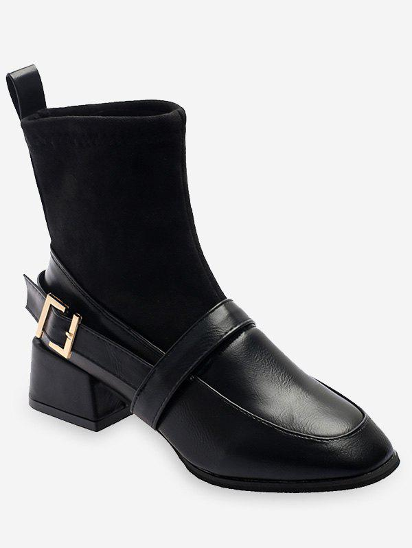 Online Patch Chunky Heel Ankle Boots