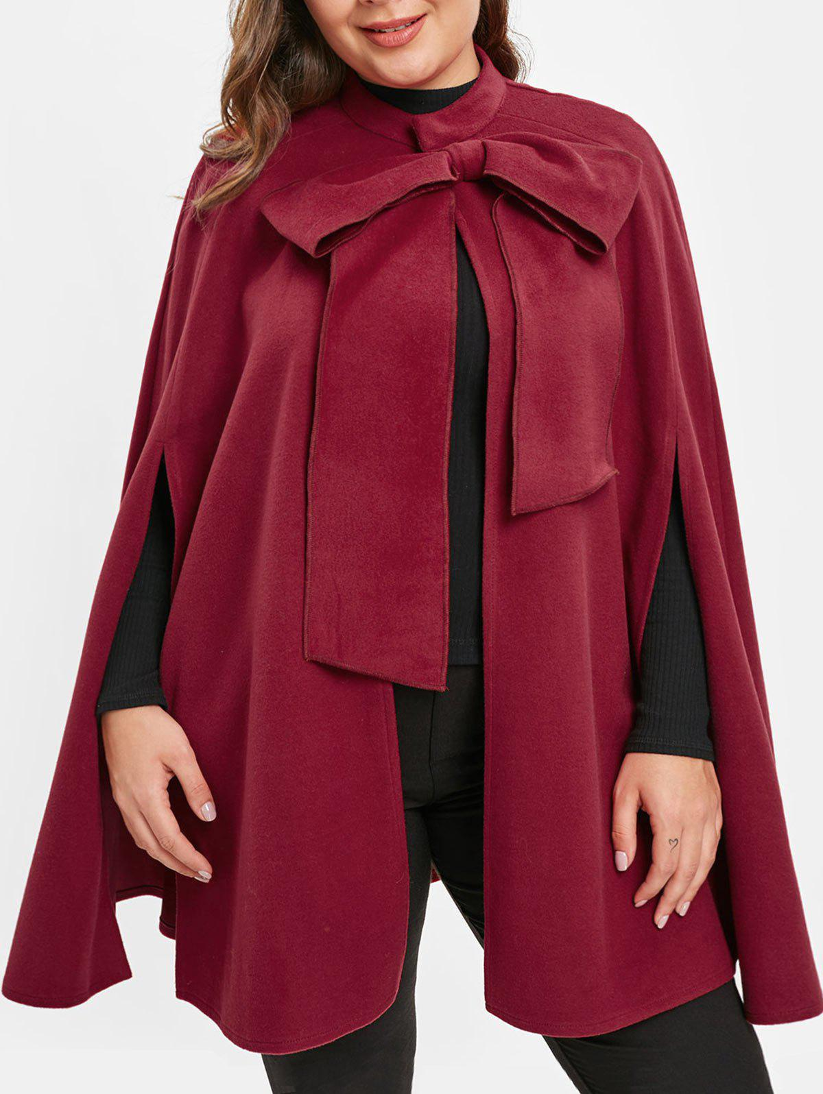 Sale Plus Size Christmas Cape Coat with Bowknot