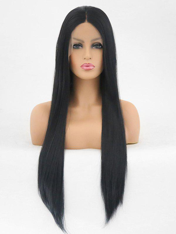 Hot Center Parting Long Straight Synthetic Fiber Lace Front Wig