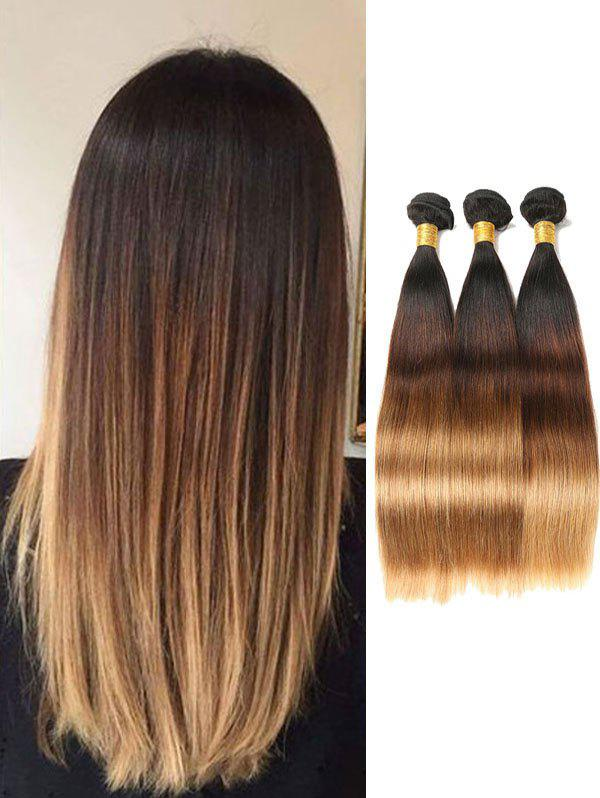 Chic Indian Virgin Human Hair Ombre Straight Hair Weaves