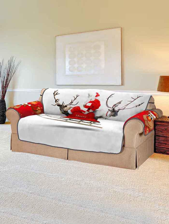 Hot Christmas Elk Print Couch Cover