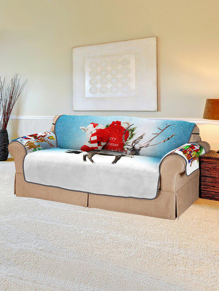 Best Christmas Santa Elk Pattern Couch Cover