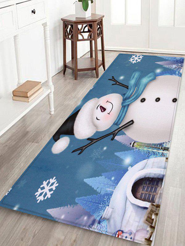 Chic Christmas Snowman Snowflake Printed Fleece Floor Mat