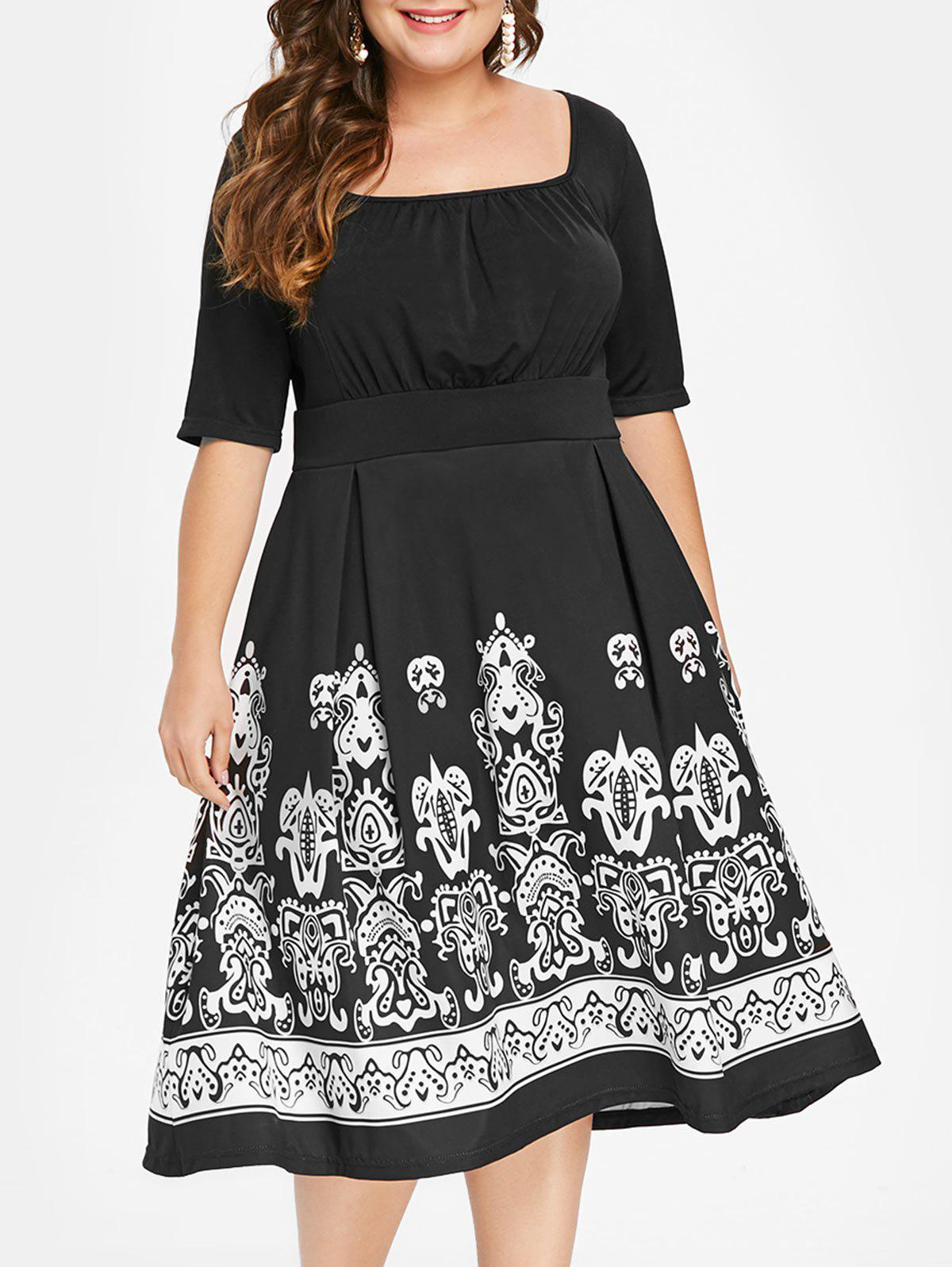 Buy Plus Size Tribal Print Midi High Waist Dress