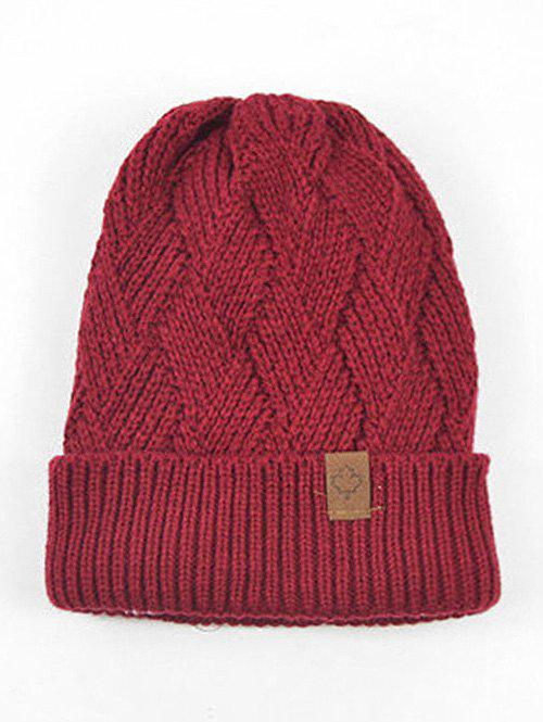 Chic Outdoor Warm Flanging Cross Knitted Beanie