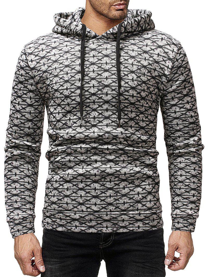 Shop Geometric Pattern Print Casual Pullover Hoodie
