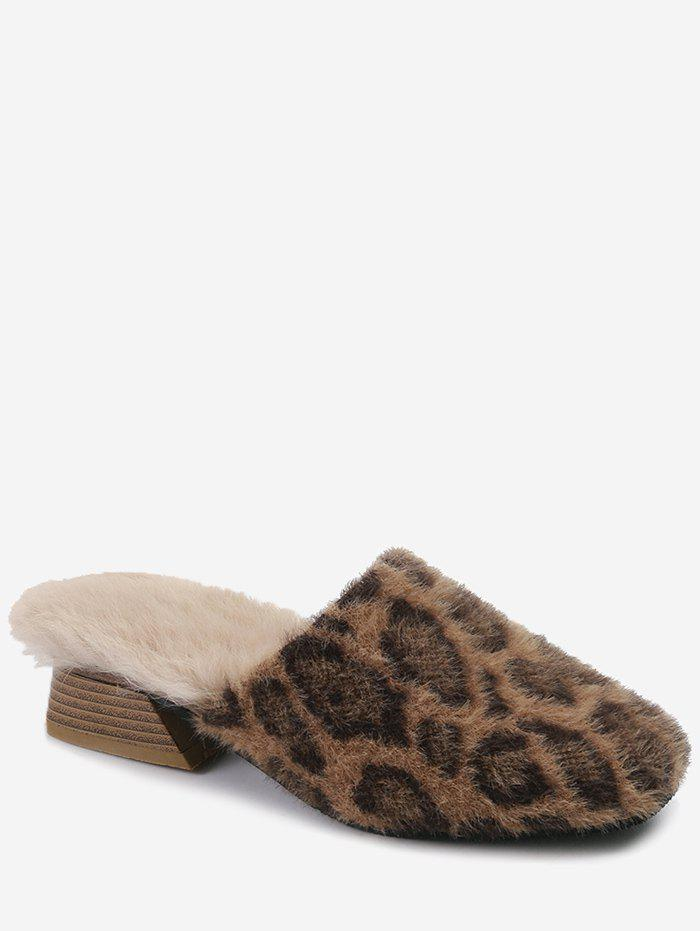 Shop Leopard Print Fuzzy Slippers