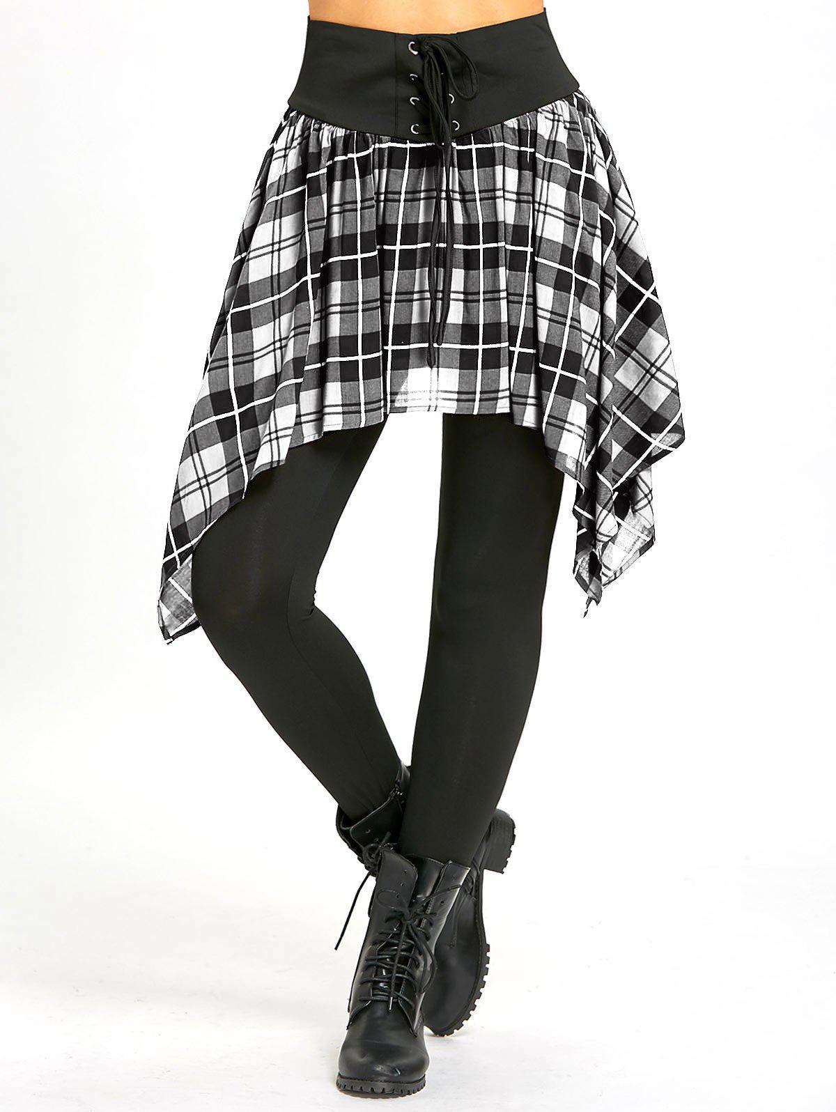 Unique Lace Up Asymmetric Plaid Skirted Leggings