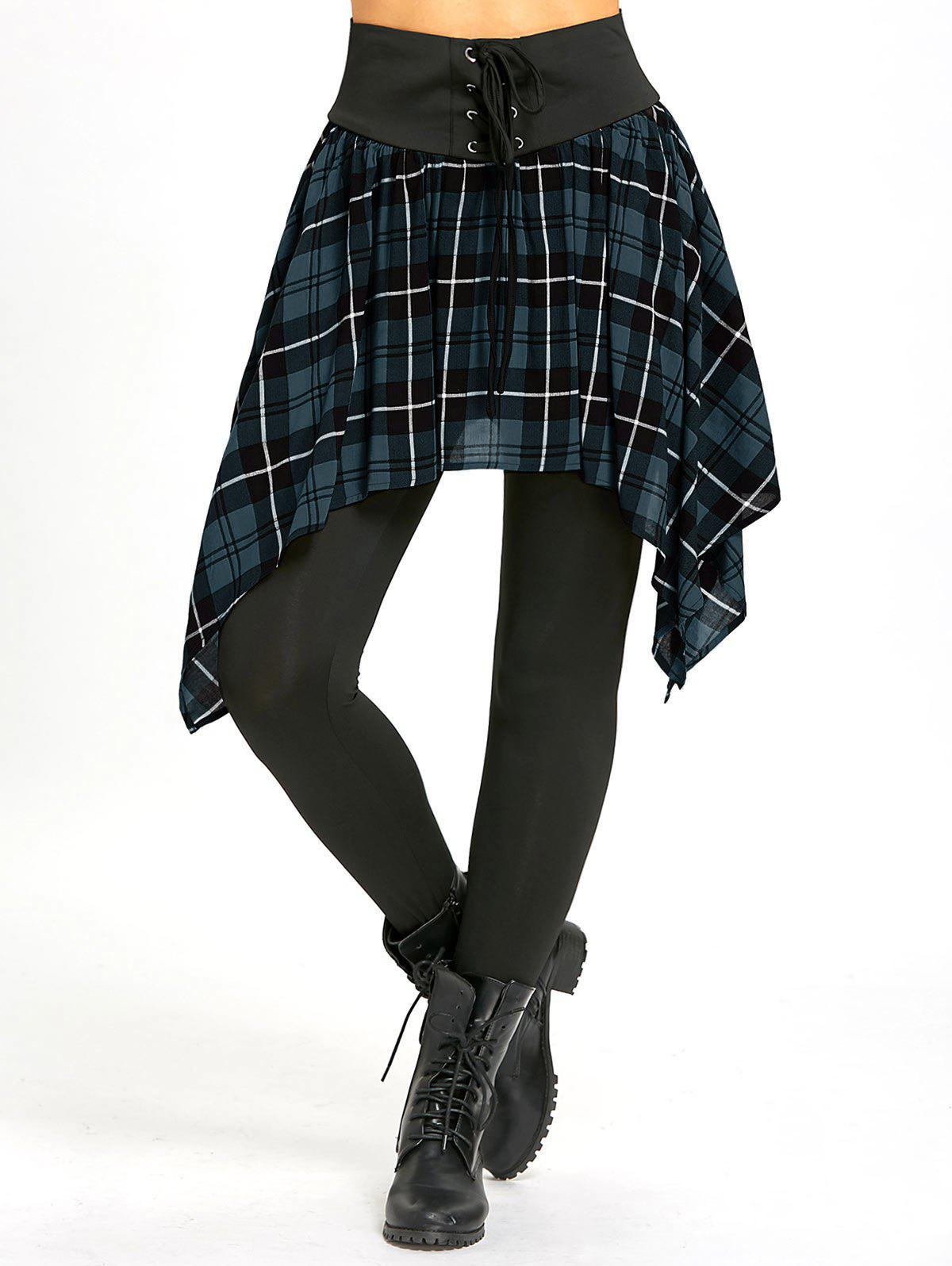 f4b6a5d4 49% OFF ] 2019 Lace Up Asymmetric Plaid Skirted Leggings | Rosegal.com