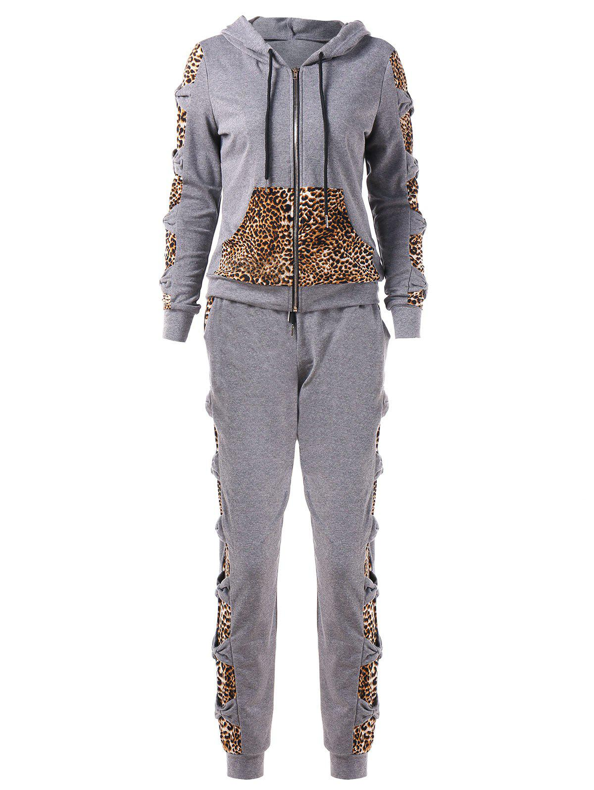 Fancy Leopard Print Bowknot Sweat Suits