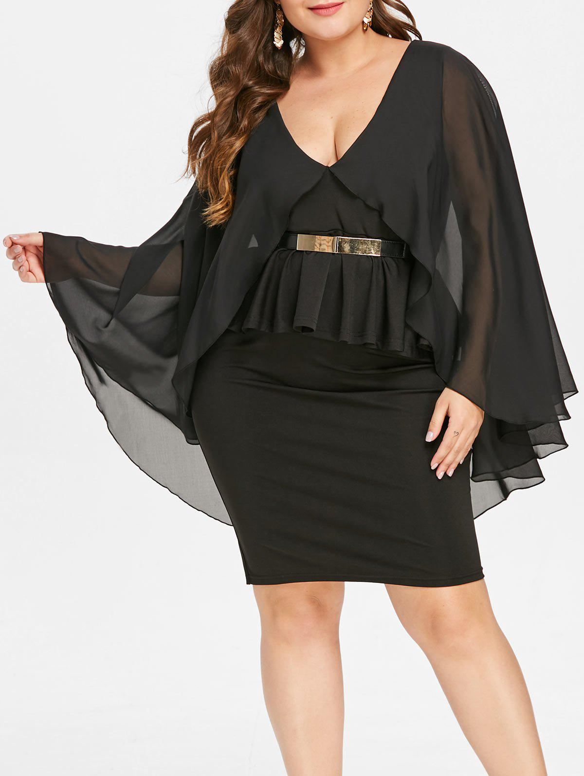 Plunging Neck Plus Size Cape Peplum Dress