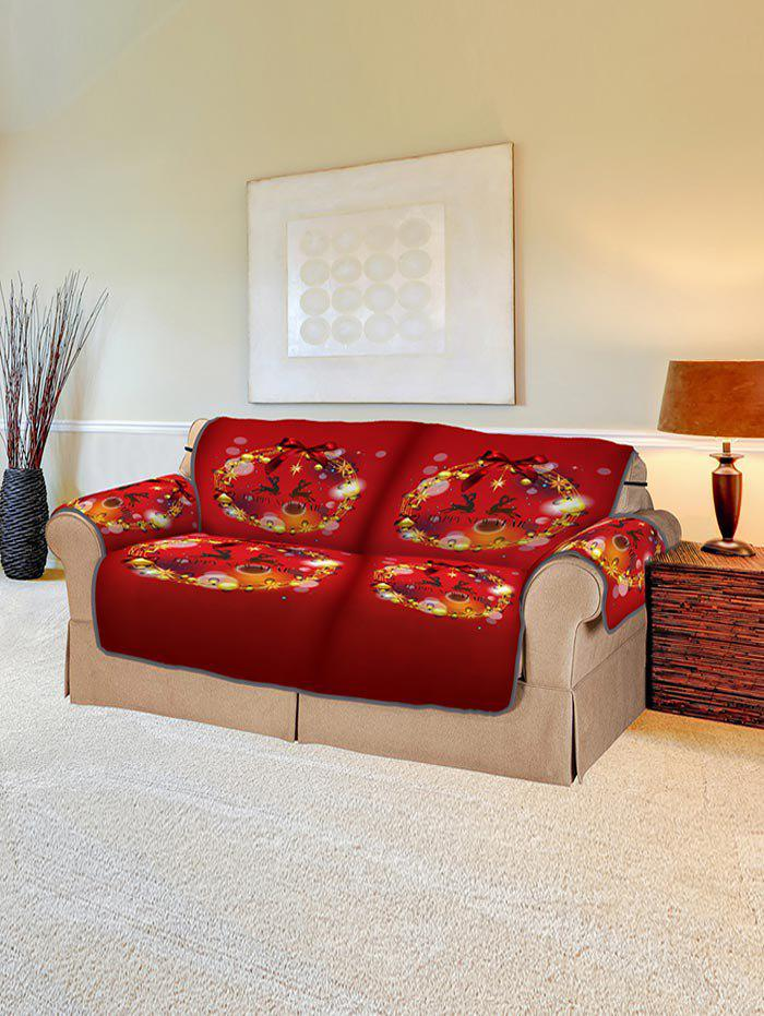 Online Christmas Ball Wreath Pattern Couch Cover