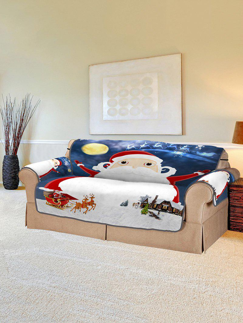 Discount Christmas Night Santa Claus Print Couch Cover