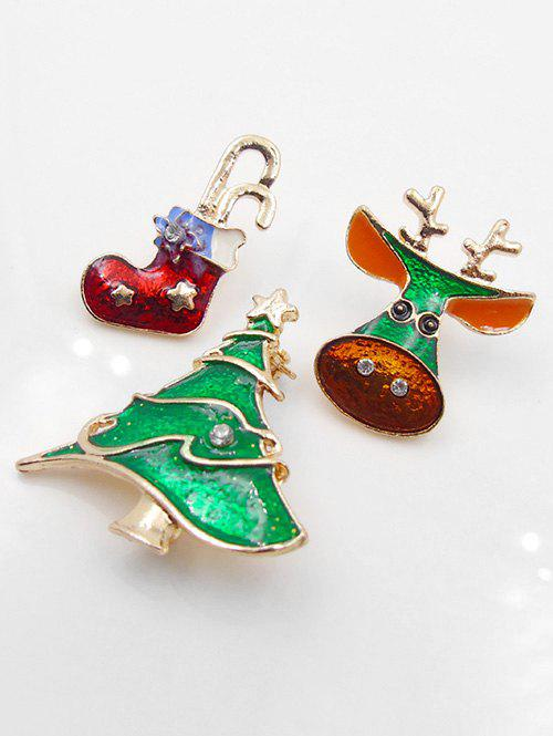 Cheap Christmas Sock Tree Shape Brooch Set
