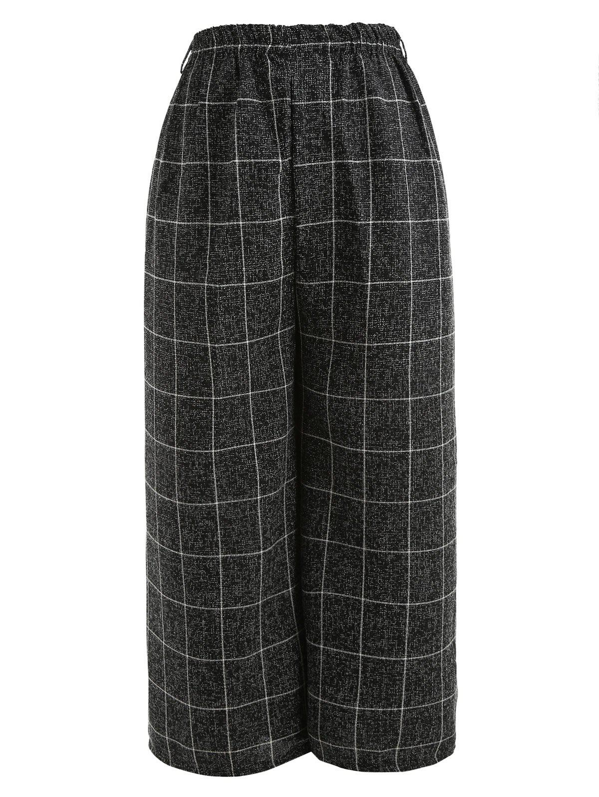 Shop Checked Pattern Wide Leg Pants