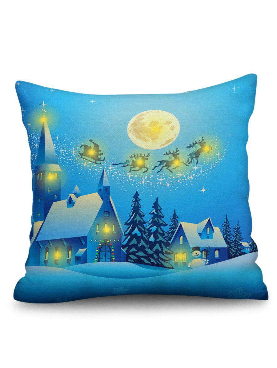 Shops Christmas Night Print Sofa Linen Pillowcase with LED Light